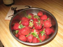 bowl of washed strawberries
