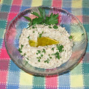 Baba ghanoush with olive oil and parsley
