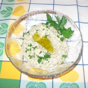 baba ghaoush with Sicilian olive oil and parsley