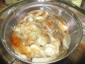 draining eggplant flesh in colander