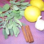 sage, cinnamon, garlic and lemon