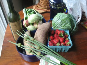 brought home from the farmers' market.