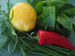 lemon, tarragon, chives, mint, and chili peppers.