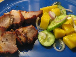 pork, cucumber-mango salad