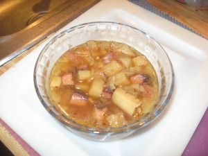 cabbage, potato, and ham soup