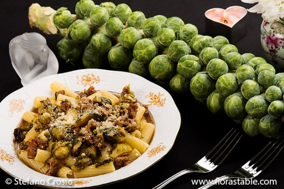 Brussel sprout and hot sausage tortiglioni