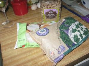 frozen onions, kale