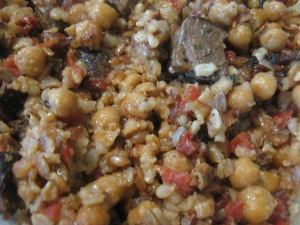 mixed grains with tomatoes and lamb