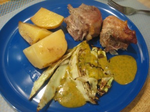 pork, potatoes, cabbage