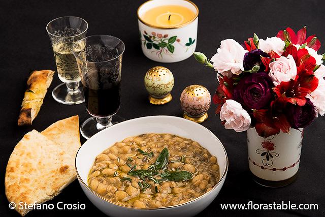 Farro and legume soup
