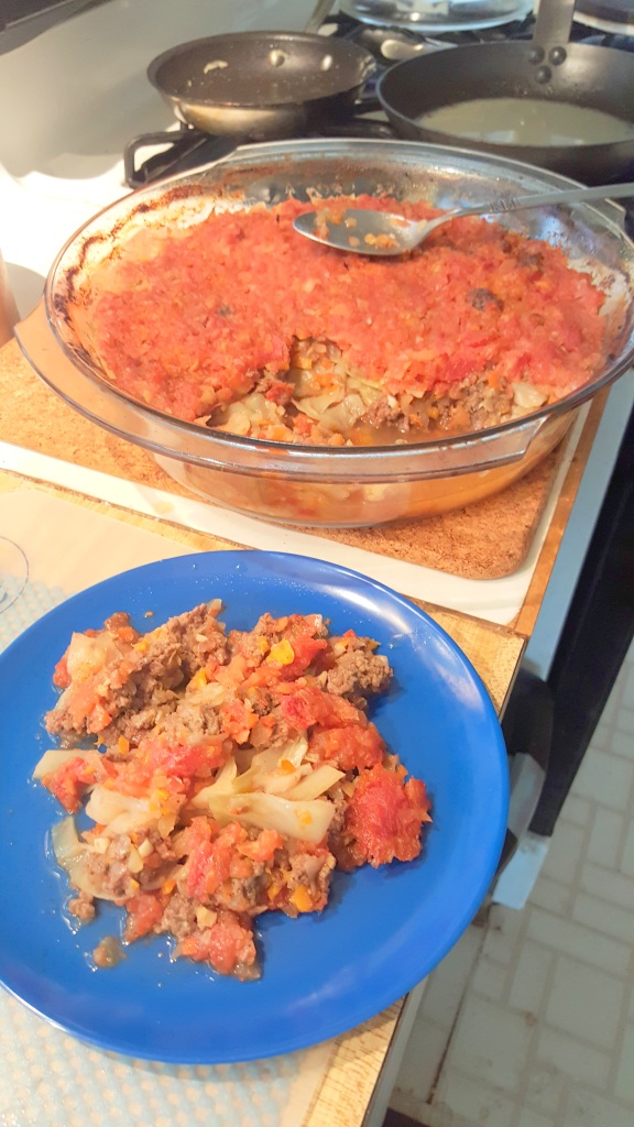 cabbage casserole and serving on blue plate