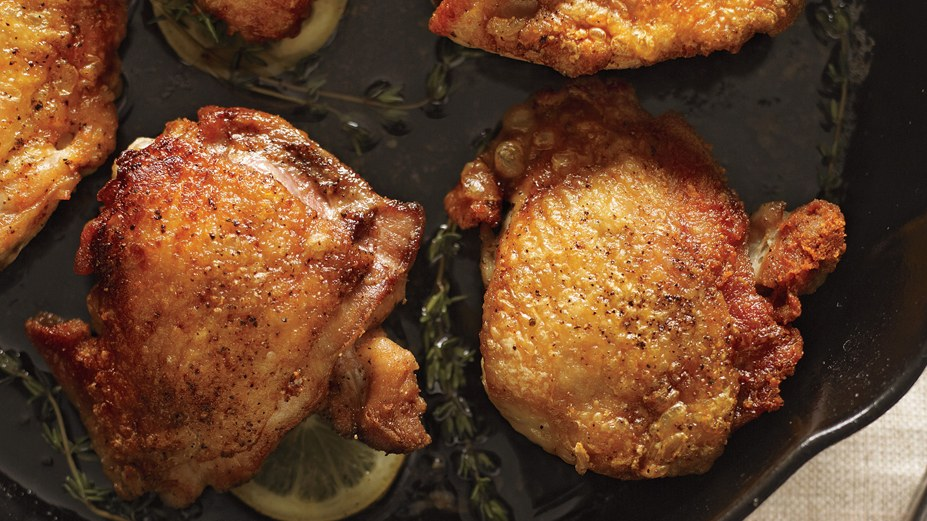 brown crispy skin on chicken thighs